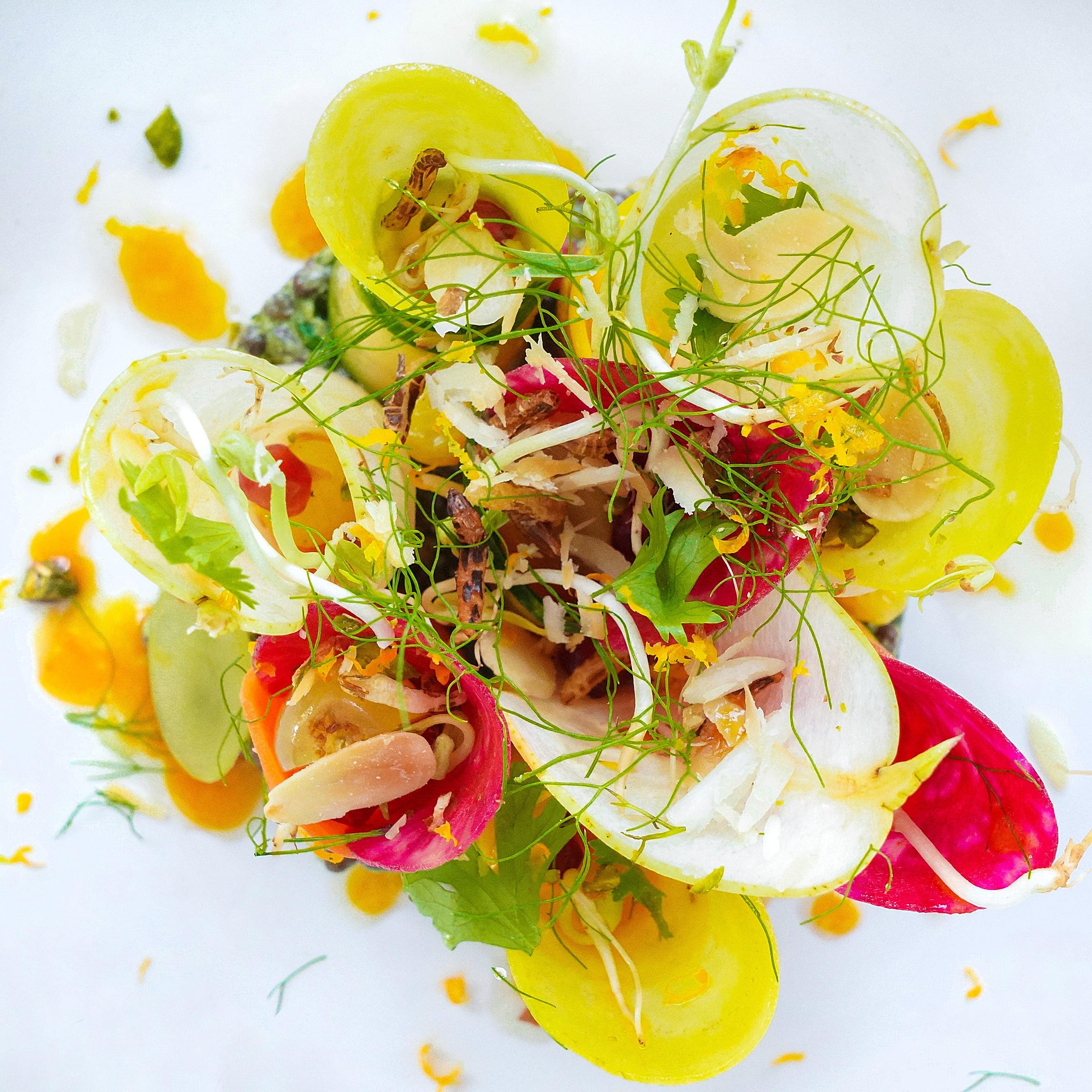Root & stem salad, mandarin dressing